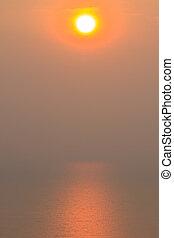 mooi, ondergaande zon , boven, zee