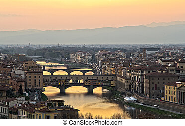 mooi, ondergaande zon , op, de, rivier arno, in, florence, italië
