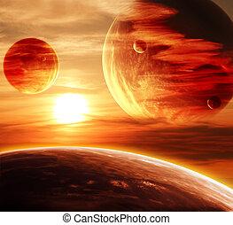 mooi, ondergaande zon , wolk, en, planeet