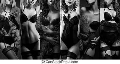 mooi, ondergoed, het poseren, vrouwen
