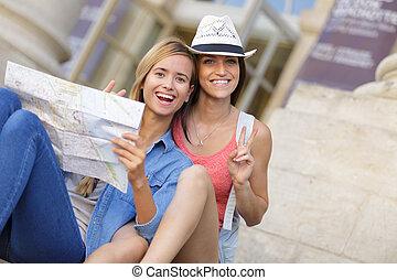 mooi, ontdekkingsreis, vrouw, stad, reizigers, jonge