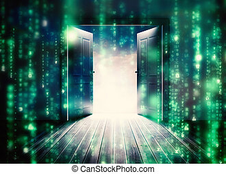mooi, onthullen, opening, samengestelde afbeelding, hemel, deuren