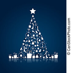 mooi, ontwerp, boompje, jouw, kerstmis