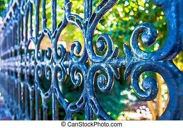 mooi, ontwerp, tuin, klassiek, black , ijzerpoort, groene, wrought