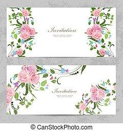 mooi, ontwerp, uitnodigingskaarten, bloemen, jouw