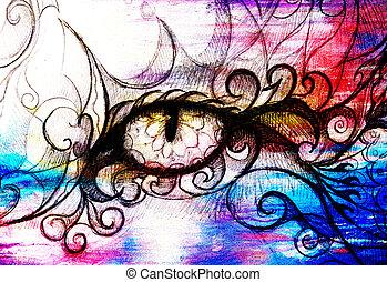 mooi, oog, effect., mystiek, hand, ornamental., papier, draw., oud, tekening, origineel, kleur