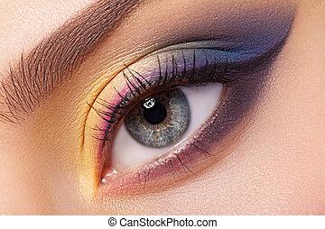 mooi, oog, makeup.