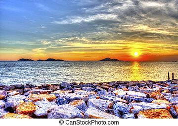mooi, op, ondergaande zon , zee