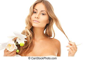 mooi, orchidee, bloem, vrouw