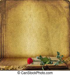 mooi, oud, roos, boek, open, rood