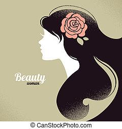 mooi, ouderwetse , meisje, silhouette