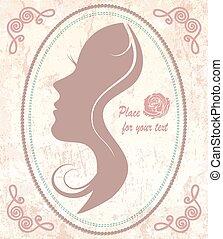 mooi, ouderwetse , vrouw, silhouette, gezicht