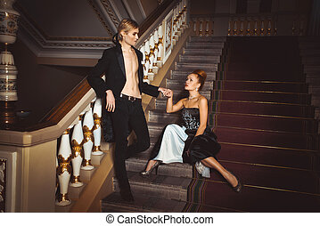 mooi, paar, 18, kleding, eeuw
