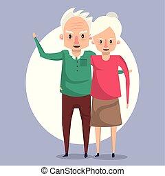 mooi, paar, het glimlachen, bejaarden, spotprent