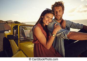 mooi, paar, vakantie, jonge, samen
