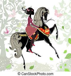 mooi, paardrijden, meisje, paarde