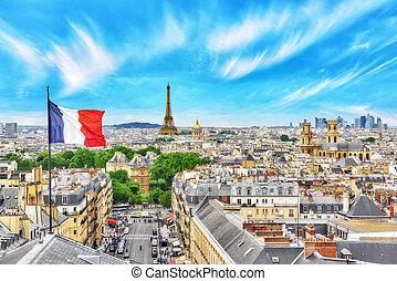 mooi, parijs, eiffel, pantheon., vlag, dak, panoramisch,...