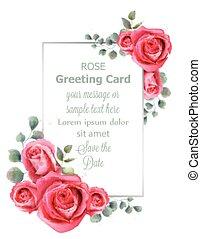 mooi, pastel, decor, ouderwetse , trouwfeest, watercolor, kleuren, vector., roos, floral, banieren, bloemen, kaart