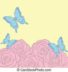mooi, pastel, tekst, groet, rozen, kleuren, retro, achtergrond, kaarten, vlinder
