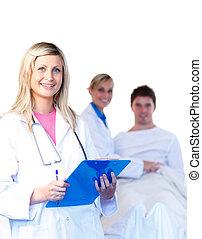 mooi, patiënt, jonge, artsen