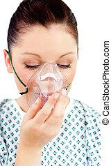 mooi, patiënt, met, een, masker