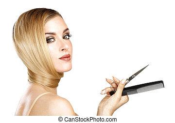 mooi, perfect, blonde, haar, het tonen, haar, model, recht