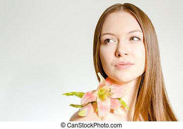 mooi, perfect, flower., &, gezicht, skin., meisje