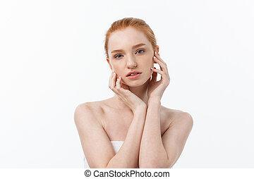 mooi, perfect, haar, beauty, vrijstaand, jonge, achtergrond., skin., aandoenlijk, vrouwlijk, verticaal, woman., gezicht, healthcare., witte