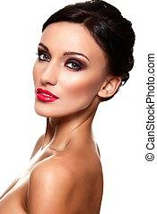 mooi, perfect, look.glamor, mannequin, makeup, vrijstaand, jonge, hoog, vrouw, closeup, sexy, schoonmaken, huid, verticaal, wite kaukasiër, rode lippen