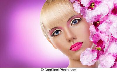 mooi, perfect, makeup, blonde, bloemen, meisje