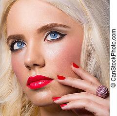 mooi, perfect, makeup, manicure, blonde, meisje
