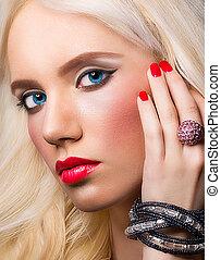 mooi, perfect, makeup, verticaal, blonde, meisje