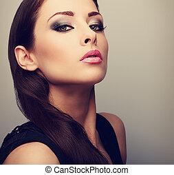 mooi, perfect, vrouw, kleur, rokerig, makeup, het kijken,...