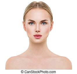 mooi, perfecte huid, schoonmaken, spa, fris, model, meisje