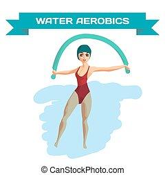 mooi, plat, vrouw, pool., blauwgroen, verloofd, vrijstaand, illustratie, aerobics., vector, turnoefening, meisje, spotprent