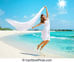 mooi, plezier, meisje, strand, hebben