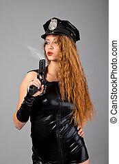 mooi, politie, grijze , achtergrond, sexy, meisje, pistool
