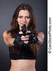 mooi, politie, vrijstaand, grijze , achtergrond, sexy, meisje, pistool