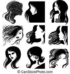 mooi, portretten, vrouw