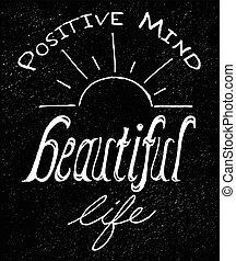 mooi, positief, leven, verstand