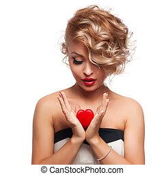 mooi, prachtig, vrouw, met, glamour, helder, makeup, en, rood hart