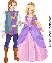 mooi, prins, en, prinsesje