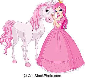 mooi, prinsesje, en, paarde