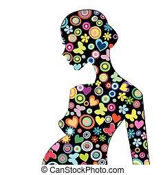 mooi, profiel, vrouw, patterned, zwangere , bloemen