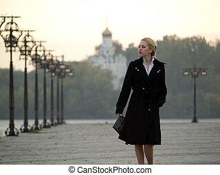 mooi, promenade, blonde