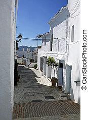 mooi, pueblos, costa, spaanse , sol, een, andalusia, del, blancos, frigiliana-