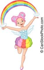 mooi, regenboog, elfje