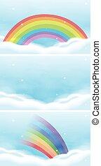 mooi, regenboog, hemel, scène