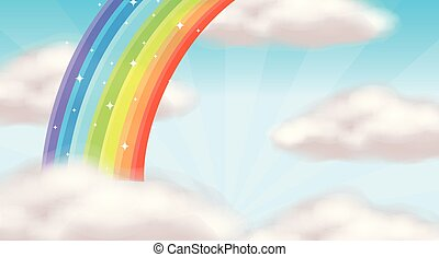 mooi, regenboog, hemel