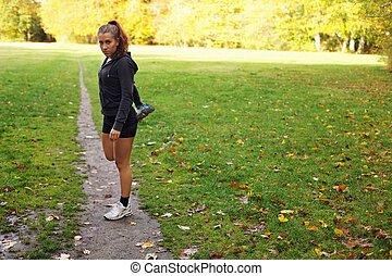 mooi, rek, haar,  Workout, vrouwlijk, Voor